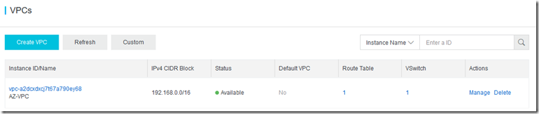 Steps to create new VPC in Alibaba cloud